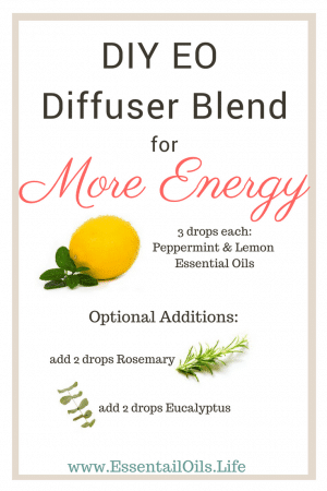 DIY diffuser blend with peppermint and lemon to boost your energy and help you focus