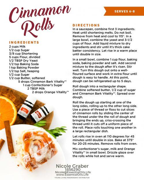 Cinnamon roll recipe, featuring cinnamon and orange vitality essential oils