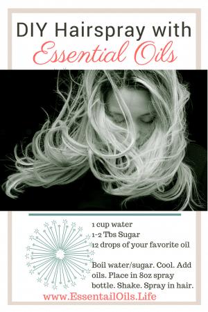 DIY hairspray recipe, featuring essential oils