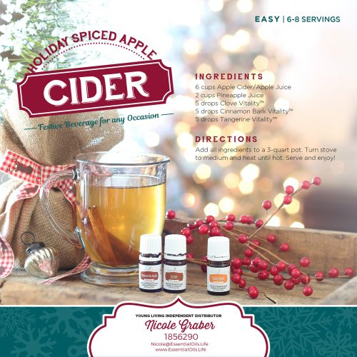 Holiday spiced apple cider recipe, featuring clove, cinnamon, and tangerine essential oils