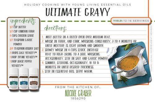 This ultimate gravy recipe features thyme, black pepper, and sage vitality essential oils, and is a delicious addition to your potatoes and turkey!