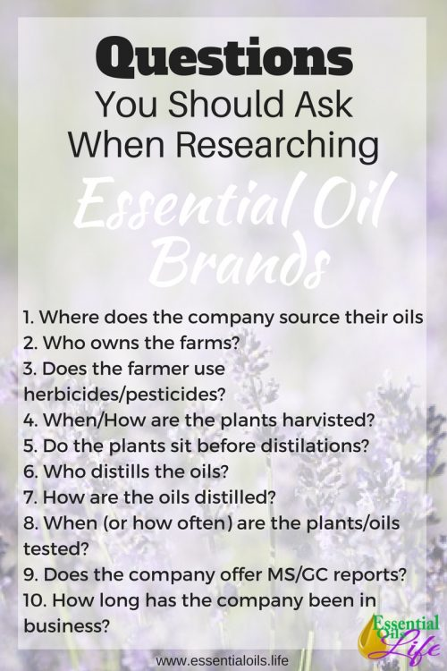 Questions to ask when researching which essential oil company to purchase from
