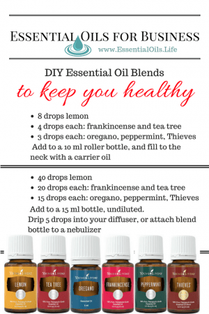 DIY Essential oil blends to help you stay healthy, boosting immunity, so you are less likely to catch the crud, allowing you to spend more time being productive and enjoying life