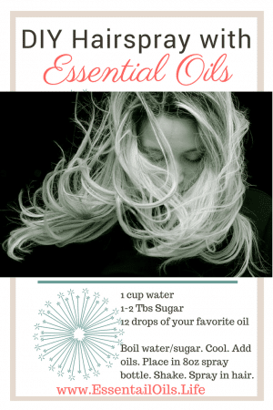 DIY hairspray recipe, featuring essential oils