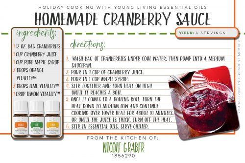 Anyone else a cranberry sauce addict? This homemade cranberry sauce recipe will be sure to make a statement of its own at your dinner table. It features orange, lime, and lemon vitality essential oils