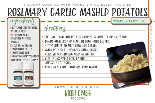 Recipe for rosemary-garlic mashed potatoes, featuring rosemary and black pepper vitality essential oils