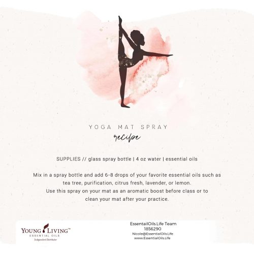 This yoga mat spray featuring essential oils will keep your yoga mat fresh and clean.. be sure to check out the essential oil and roller bottle recipe in this post as well!