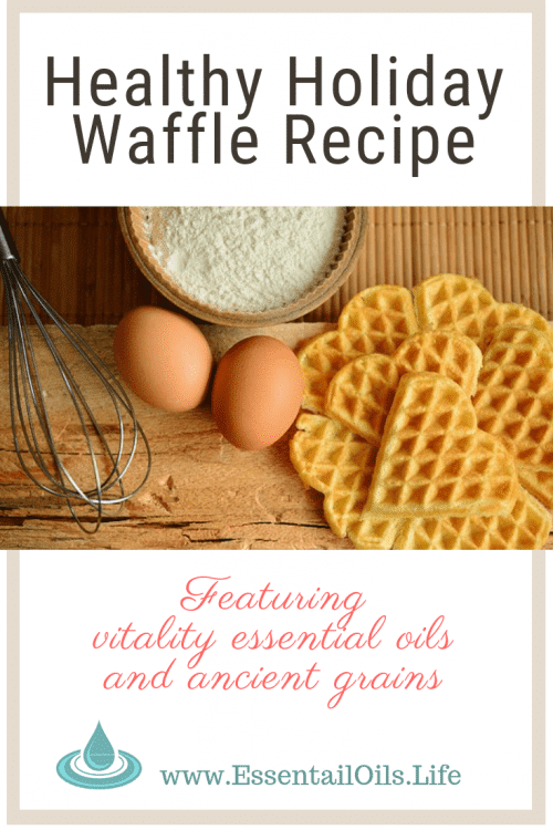 Delicious holiday waffles made with ancient grain Einkorn, which is a healthy alternatives to wheat, and Vitality essential oils! Enjoy pumpkin spice waffles with ginger, nutmeg, and clove vitality essential oils.