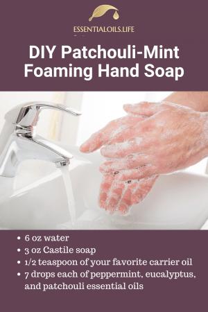 DIY patchouli mint foaming hand soap recipe