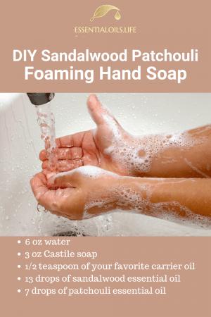 DIY sandalwood patchouli foaming hand soap recipe