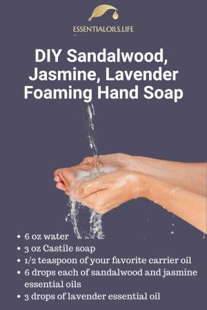 Sandalwood, Jasmine, Lavender DIY Foaming Hand Soap Recipe