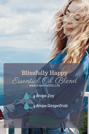 Blissfully Happy DIY Essential Oil Diffuser Blend featuring Joy essential oil blend and grapefruit essential oil