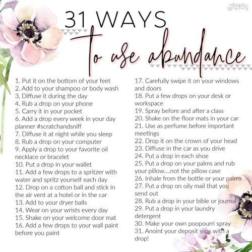 abundance; abundance essential oil blend; abundance essential oil; how to use abundance essential oil; ways to use abundance essential oil
